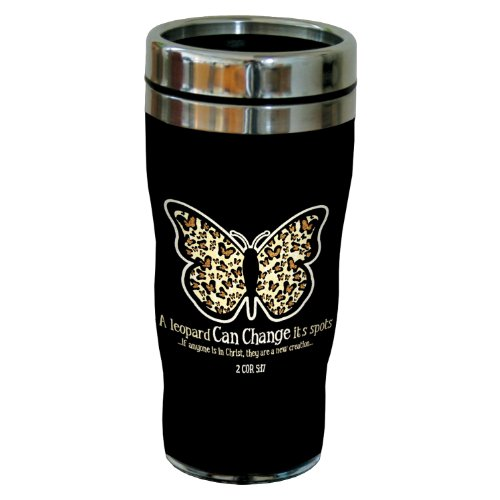 Tree-Free Greetings sg24287 Leopard Spots: 2 Corinthians 5:17 Sip 'N Go Stainless Steel Lined Travel Tumbler, 16-Ounce
