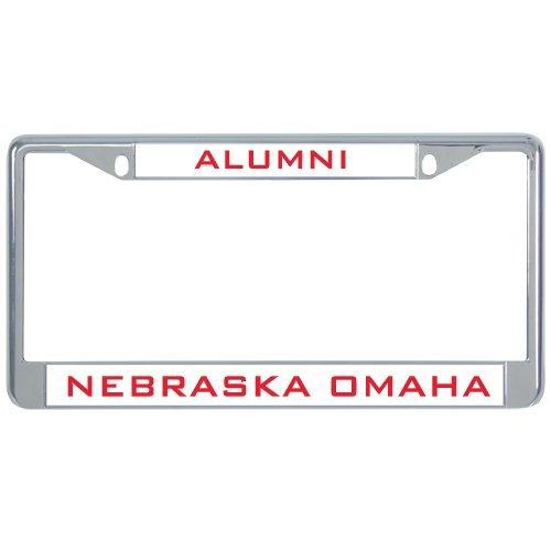 Nebraska Omaha Metal License Plate Frame in Chrome 'Alumni'