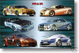 Amazon Com Max Power Poster Nissan Racing Cars Collage Hot New