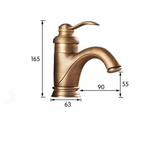 GrowtherHOME Basin Faucet Antique Brass Bathroom Sink Faucets Single Handle Deck Mounted Bath Wash Hot Cold Mixer Water Tap Wc Taps,Antique Bronze