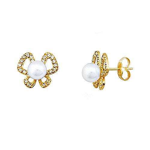 Boucled'oreille 18k or 5.5mm perle. zircons papillon [AA5361]