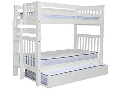Bedz King Tall Bunk Beds Twin over Twin Mission Style with End Ladder and a Twin Trundle, White