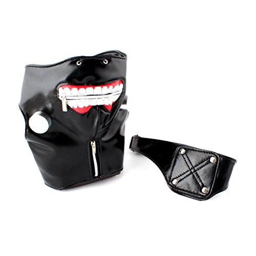 BESTOYARD Halloween Party Cool Mask Tokyo Ghoul Kaneki Ken Cosplay Mask Adjustable Zipper Mask with Eye Patch