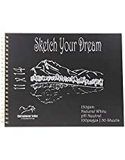 """Entrustment Sketch Book, 150gsm,11"""" X 14"""", pH Neutral, Natural White, Premium Sketch Book with Spiral Bind, Excellent for Painting and Drawing with Wet and Dry Colour, Click on Promotion below for Free Notebook."""