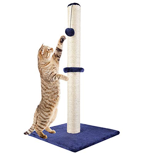Dimaka 29 Tall Cat Scratching Post, Claw Scratcher with Sisal Rope and Covered with Soft Smooth Plush, Vertical Scratch [Full Strectch], Modern Design 29 Inches Height (Blue)