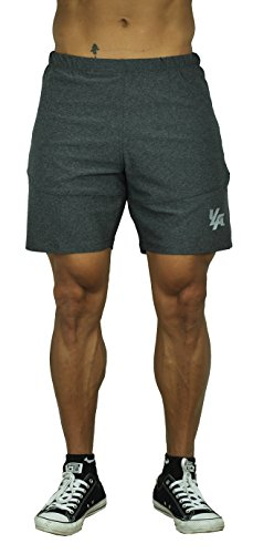 YoungLA Men's Training Fitness Activewear Bodybuilding Shorts w/Zipup Pockets