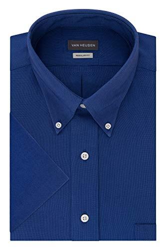 Van Heusen Men's Short Sleeve Oxford Dress Shirt, English Blue, Medium