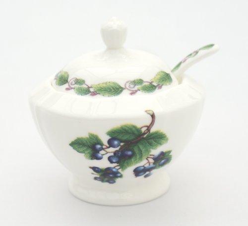 Johannisbeere Marmeladendose &Löffel aus feinem Porzellan-Vorratsdose