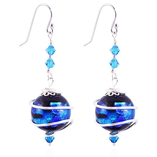 CewanCe valentines day present handmade Blue Japan's style Glass Beads Jewelry Drop Earrings With Swarovski Elements crystals (ear10-Blue)