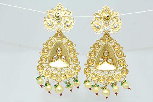 PH Artistic Designer Dangle Long Earrings Gold Plated Uncut White Bead Stones 3.6'