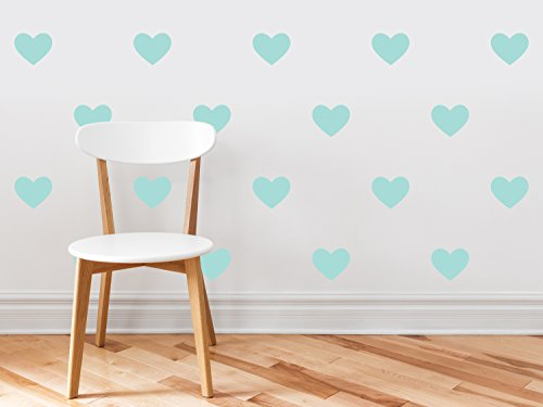 Heart Fabric Wall Decals - Set of 23 Heart Wall Stickers - Aqua - Non-Toxic, Reusable, Repositionable (Aqua Accent Wall)