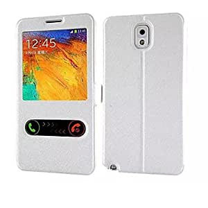 ZL 2014 Newest Duplex Silk Flip Smart View Back Cover Cases with For Samsung Galaxy NOTE3 (Assorted Colors) , Golden