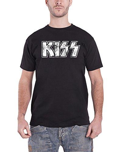 Vintage Kiss T-shirt (Kiss T Shirt Vintage Distressed Band Logo Official Mens Black)
