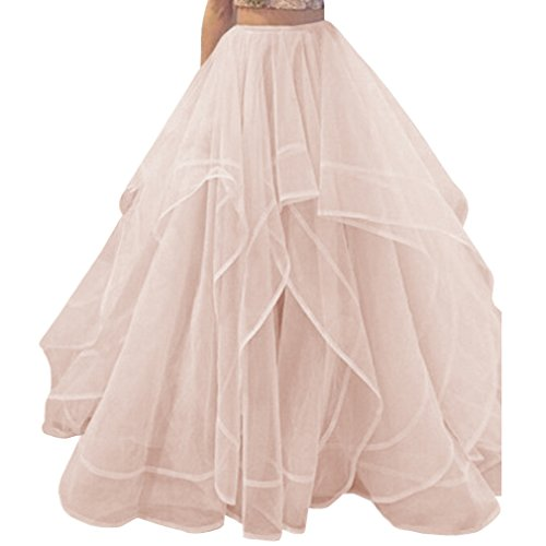 Tulle wedding skirt amazon wdpl womens long a line layered tulle organza bridal skirt large light pink junglespirit Images