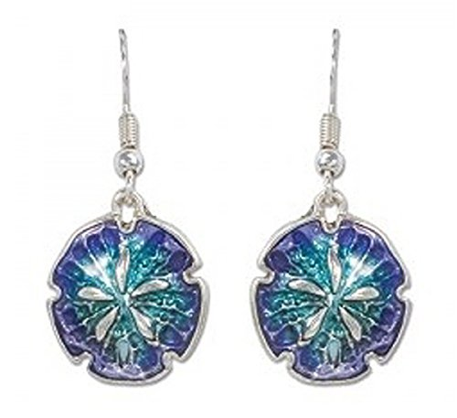 Periwinkle by Barlow - Beautiful Blue Enamel Sand Dollar Dangle Earrings