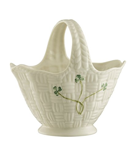 Belleek Pottery Shamrock Handled Basket