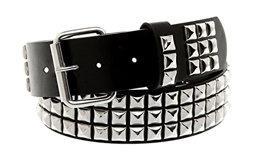 Classic Pyramid Studded Leather Belt (Size Medium 32-36 inch waist) - Stud Studded Black Belt