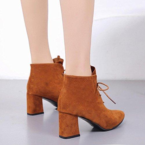 Sikye Femmes Bottes Carré Talon Plates-formes Cuisse Haute Lacets Bottes Mode Sneaker Chaussures Bout Pointu Brun