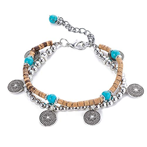 TOMLEE Vintage Layered Anklet for Women Coin Charm Coconut Shell Beads Chain Ankle Bracelet Gypsy Jewelry