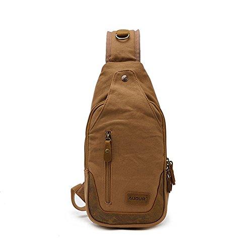 Zenness lienzo bolso único de alta capacidad de bolsa en el pecho (café) Amarillo