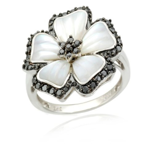 10k White Gold Flower White Mother-Of-Pearl Black Diamond Ring (3/10 cttw, Black), Size 5