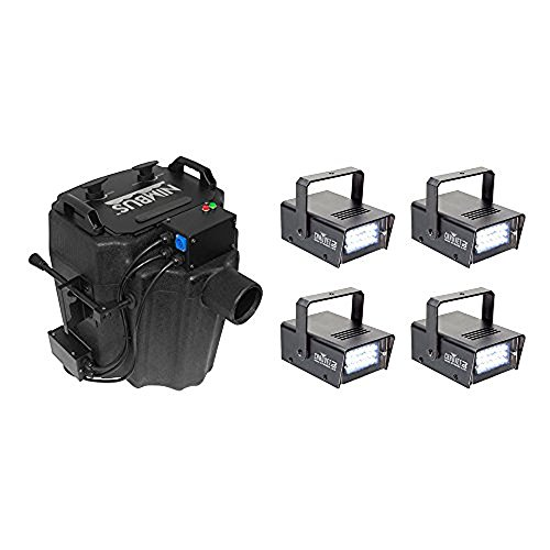 Chauvet Nimbus Dry Ice Low Lying Smoke Fog Machine + Mini Strobe 21 LED (4 Pack) by CHAUVET DJ