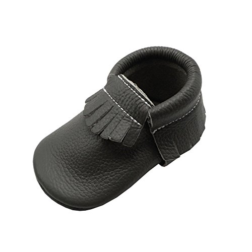 YIHAKIDS Baby Tassels Shoes Soft Leather Sole Infant Toddler Shoes Baby Moccasins Crib Shoes Grey(size 5,6-12 months/4.9in)
