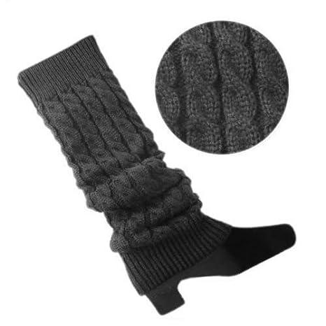 SODIAL Calentadores de pierna Calentadores de pierna sin pies tejidos de Color solido de mujer Gris oscuro R