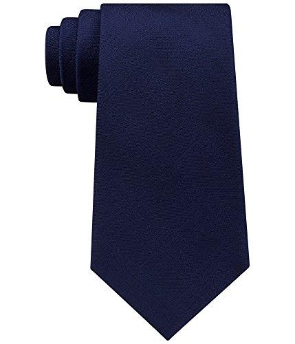 Plaid Solid 100% Silk Men's Neck Tie (Navy, One Size) (100% Silk Solid Necktie)