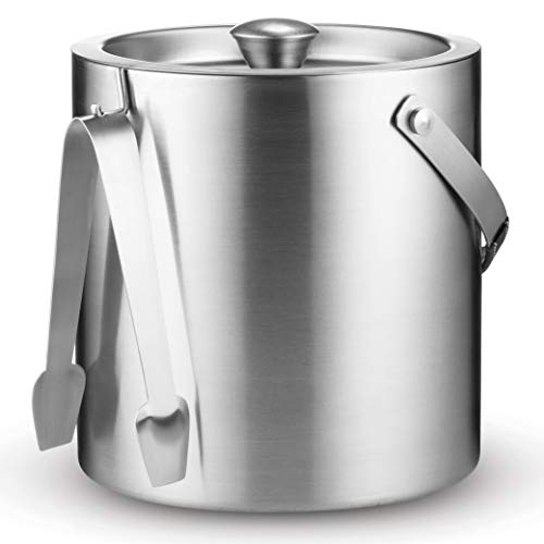 Double-Wall Stainless Steel Insulated Ice Bucket With Lid and Ice Tong [3 Liter] Included Strainer Keeps Ice Cold & Dry, Carry leather Handle, Great for Home Bar, Chilling Beer, Champagne, Wine Bottle