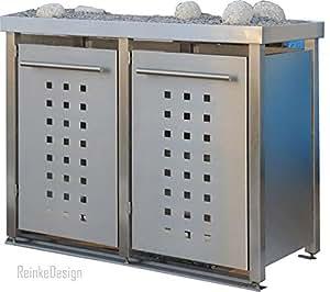 Reinkedesign Contenedor de basura (Acero Inoxidable con Planta bañera 2x 240L