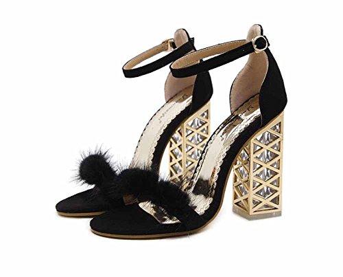 Nuevo Tacón Alto Negro Tobillo Correa Mujer Sandalias Tacón Felpa Abierta Cristal Zapatos Zapatillas De Punta Pxqavx7w1