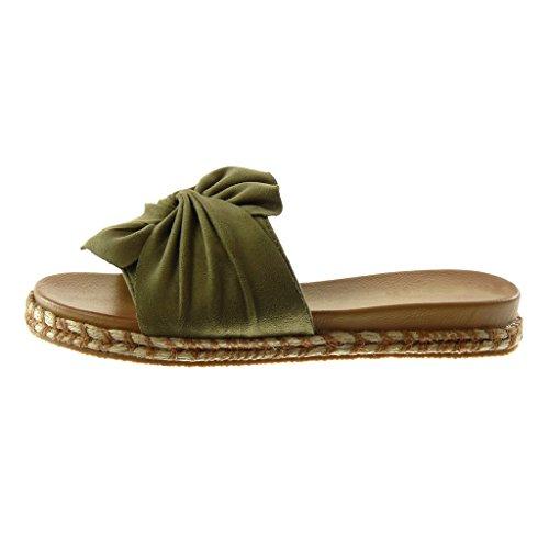 Angkorly Zapatillas Moda Sandalias Mules Slip-On Mujer Nodo Cuerda Trenzado Tacón Plano 3 cm Verde