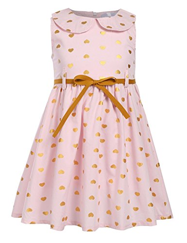Arshiner Girls Sleeveless Doll Collar Dress Vintage Polka Dot Swing Peter Pan Collar Dress With Belt,Pink,110(Age for 4-5Y) for $<!--$12.99-->