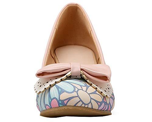 Basso Tonda Flats Trafilatura Donna AllhqFashion Rosa Ballet Tacco FBUIDD008399 Punta 0wIqS