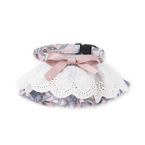 Nordmiex Pink Collar and Leash Set Adjustable Soft Cotton Material Pet Collar Leash Combo with Matching Cute Bow Ties for Cat Velvet Dog Harness for Puppy Rabbit Small Medium Dogs Cats,Polka Dot