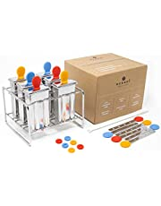 ecozoi Stainless Steel Popsicle Molds and Rack - 6 Ice Pop Makers + 30 Reusable Bamboo Sticks + 12 Silicone Seals + 1 Rack