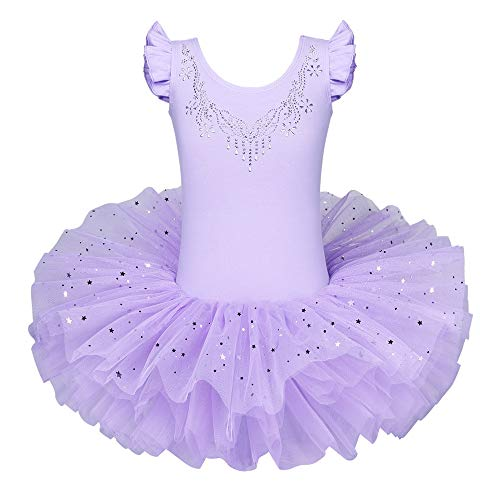 BAOHULU Ballet Leotards for Girls Full Skirted Dance Tutu Dress Party Costumes B184_Purple_L -