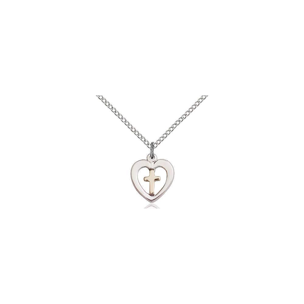DiamondJewelryNY Two-Tone GF//SS Heart//Cross Pendant