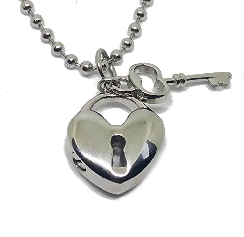 Cremation Jewelry for Ashes Love Lock Key Heart Shape Urn Necklaces Stainless Steel Pendant for Men and Women Dog Cat Funeral Day. Keepsake for Loved One