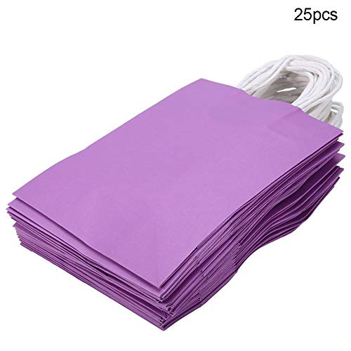 25 PCS Gift Bag Kraft Paper for Wedding Candy Favor Bag With Handle (Purple)