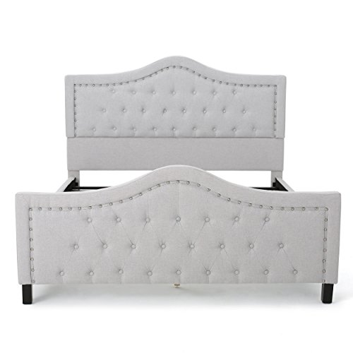 Livi Sky Grey Fabric Fully Upholstered Queen Bed Set (Tufted Headboard Bedroom Set)