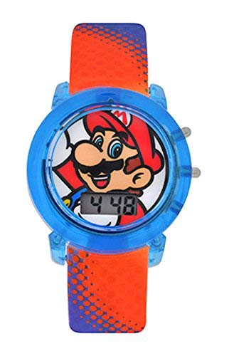 Super Mario Flashing Strap LCD Kids Watch, red blue