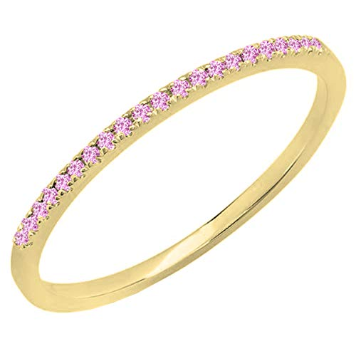 Dazzlingrock Collection 10K Round Pink Sapphire Ladies Anniversary Wedding Band Stackable Ring, Yellow Gold, Size 8.5