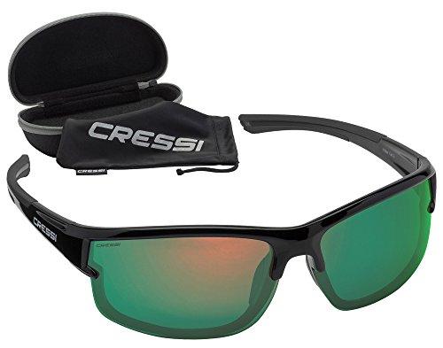 Cressi Rocker - Lunettes de Soleil Polarisées pour Homme - 100% Anti-UV avec étui Rigide - Noir/Lentilles Mirroir Jaune 42EtLWv5