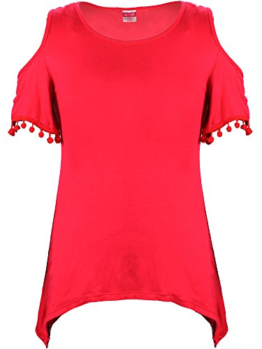 Crush Women's Rayon Spandex Short Sleeve Top, Size, 2X, Red