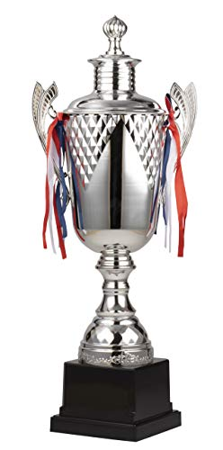 Juvale Trophy Cup - Large Silver Trophy, Award Supplies for Sport Tournaments, Competitions, Race, Game, Reward, Props, Prize, School, Company, Silver, 8.5 x 5.5 x 21.5 ()