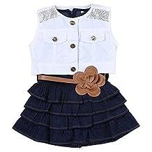 Happy Little Girls' 2Piece White Vest and Denim Cake Dress with Belt Set 4T blue