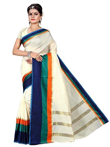Shonaya Cream Colour Banarasi Art Silk Saree& Unstitched Blouse Piece,Free Size – Cream & Blue, Free Size