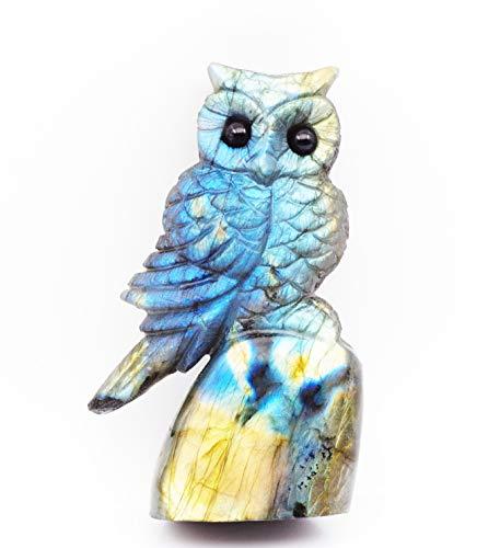NATURSTON Handcrafted Gemstone s Owl Statue Natural Labradorite Carving Animal Figurine Healing Gift owl-10